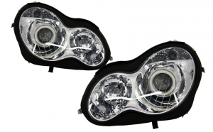 Set 2 faruri Angel Eyes compatibil cu MERCEDES Benz W203 C-Class (2000-2007)