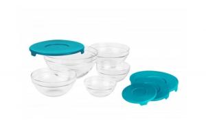 Set 5 boluri din sticla cu capace plastic