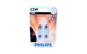 Bec Philips pentru numar de inmatriculare - C5W, 12V, 5W ,Vision, 2 bucati