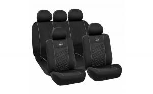 Huse Scaune Auto SEAT TOLEDO (1998-2010)  Momo Negru Gri, pentru bancheta rabatabila, 11 Bucati