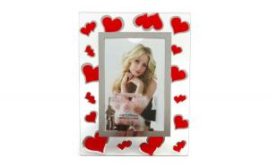 Rama foto, din sticla cu inimioare, 10 x