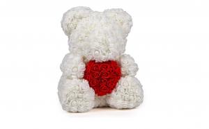 Ursulet  Rose Bear 70 cm alb cu inima
