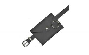 Borseta din piele naturala, waist bag, negru