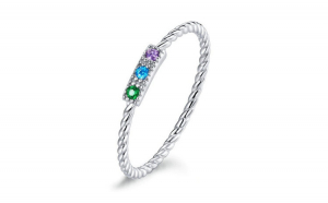 Inel fix din argint 925 Colorful Stone Silver Rope