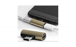 Adaptor 2in1, Casti Si Charger, USB Type C, Jack 3.5 Mm, Splitter