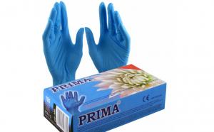 Manusi examinare vinil pudrate, albastre, 100 bucati, ABS