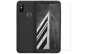 Husa Full Cover 360 + folie sticla pentru Xiaomi Mi A2  Negru