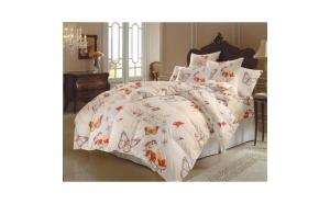Lenjerie de pat cu Fluturi Bej, din Bumbac 100%, pentru pat matrimonial XL, 220 x 240cm, model Butterfly 3