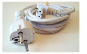 Prelungitor Cablu Tensiune cu Adaptor priza EU pt. incarcator Apple MacBook Pro Air iPhone iPod iPad iPad2, la doar 36 RON in loc de 79 RON