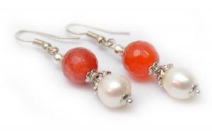 Cercei handmade Agat şi Perle de cultura, la doar 35 RON de la 79 RON