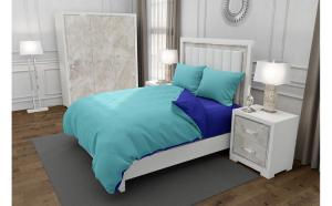 Lenjerie de pat matrimonial cu 4 huse perna patrata, Duo Turquoise, bumbac satinat, gramaj tesatura 120 g mp, Turcoaz Albastru, 6 piese