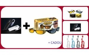 Pachet casca Bluetooth + 2 perechi ochelari de zi si de noapte + Cadou cablu Fast Charge cu LED