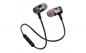 Casti Wireless Bluetooth Magnetice cu Microfon Negru
