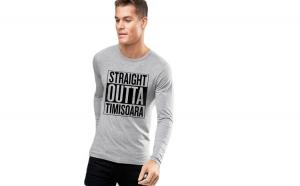 Bluza barbati gri cu text negru - Straight Outta Timisoara