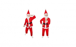 Costum de Mos Craciun pentru copii, 5 piese, caciulita si barba