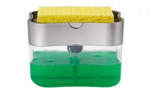 Dozator, Dispenser 2 in 1,burete inclus pentru Detergent Lichid de Vase sau pentru Obiecte Sanitare cu Suport pentru Burete de Bucatarie