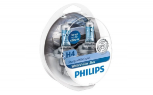 Set 2 becuri auto Philips H4 White Vision Ultra 4200K 12V 60/55W