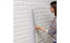 Set 5 x bucati tapet autoadeziv 3D (design caramida) 70x77cm 3D Alb simplu si usor