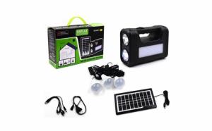 Sistem iluminare cu incarcare solara, 3 becuri led, negru, material plastic