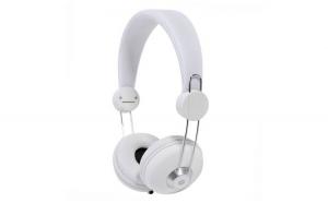 Casti stereo cu fir, tip DJ, conexiune mufa Jack 3.5 mm, banda reglabila, usoare, confortabile, alb