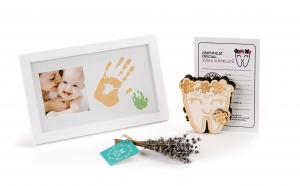 """Set cadou personalizat pentru mama si copil Rama foto cu amprenta, si Cutiuta Zana Maseluta """"Flowers"""" pentru pastrarea dintilor de lapte"""