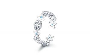 Inel reglabil din argint 925 Winter Snowflake