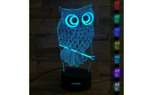 Lampa 3D LED - FizioLight, Bufnita, 7 culori, alimentare USB.