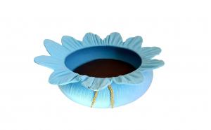 Culcus pentru animale cu salteluta detasabila, bleu, 45 x 45 x 20 cm