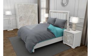Lenjerie de pat matrimonial cu husa elastic pat si 4 huse perna dreptunghiulara, Duo Gray, bumbac satinat, gramaj tesatura 120 g mp, Gri Turcoaz, 6 piese