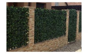 2 x Gard viu artificial sintetic, 1 x 3 m, vesnic verde, cadou ghirlanda