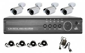 Sistem supraveghere CCTV kit DVR, 4 camere, exterior/interior, pachet complet, HDMI, internet, vizionare pe smartphone