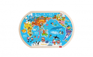 "Puzzle lemn ""Harta Lumii"", joc educativ"