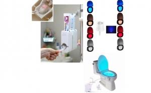Pachet: Dozator automat cu senzor pasta de dinti + Cadou: Suport periute + Lampa Led WC cu senzor, vezi video