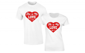Set de tricouri albe He is/She is my