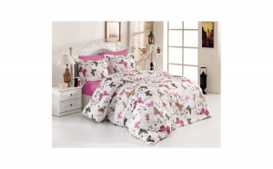 Lenjerie de pat matrimonial SUPER cu husa de perna dreptunghiulara, Queen fly, bumbac satinat, gramaj tesatura 120 g mp, multicolor