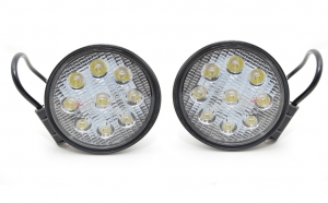 Set 2 proiectoare rotunde LED Auto 27W/12V-24V