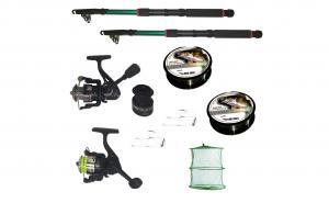 Pachet de pescuit cu 2 lansete 2,4m, doua mulinete si accesorii