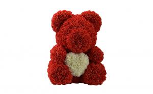 Ursulet  Rose Bear 40 cm rosu cu alb