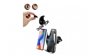 Suport incarcator telefon Auto Smart S5 wireless + CADOU Casca mini Bluetooth 4.0 invizibila