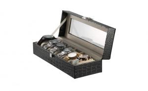 Cutie caseta eleganta pentru depozitare 6 ceasuri, imprimeu crocodil, negru