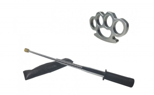 Set baston telescopic flexibil argintiu, maner cauciuc, 47 cm  + box argintiu 0,5 cm grosime