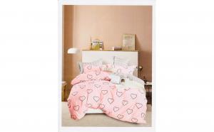 Lenjerie pentru pat dublu cu 2 fete, din finet de calitate superioara, 6 piese, inimi desenate