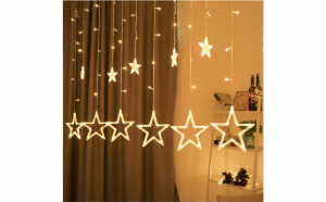 Instalatie Craciun - perdea luminoasa ploaie 12 stele alb cald sau multicolor