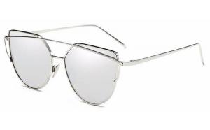 Ochelari de soare Ochi de Pisica Cat eye Oglinda Argintiu cu Argintiu
