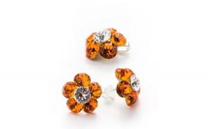 Set floare - cercei cu tija si pandantiv