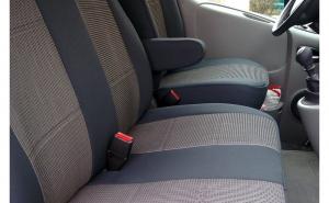 Husa / Set huse scaune auto fata ( 2+1 ) IVECO Daily V 2011-2014 - autoutilitare - NEGRU+GRI