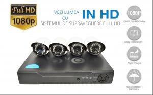 Sistem de supraveghere FULL HD 2 MPx cu 4 camere IR, de exterior/interor, rezolutie 1080P, internet si vizionare pe Smartphone, cu accesorii de instalare incluse