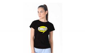 Tricou dama negru - Smile