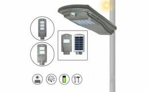 Stalp de iluminat pentru exterior, cu panou solar si proiector LED, 20W