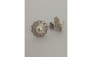 Cercei Argint 925 cu Perla si Zirconii